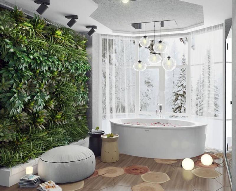 Фитомодуль в интерьере ванной комнаты 2
