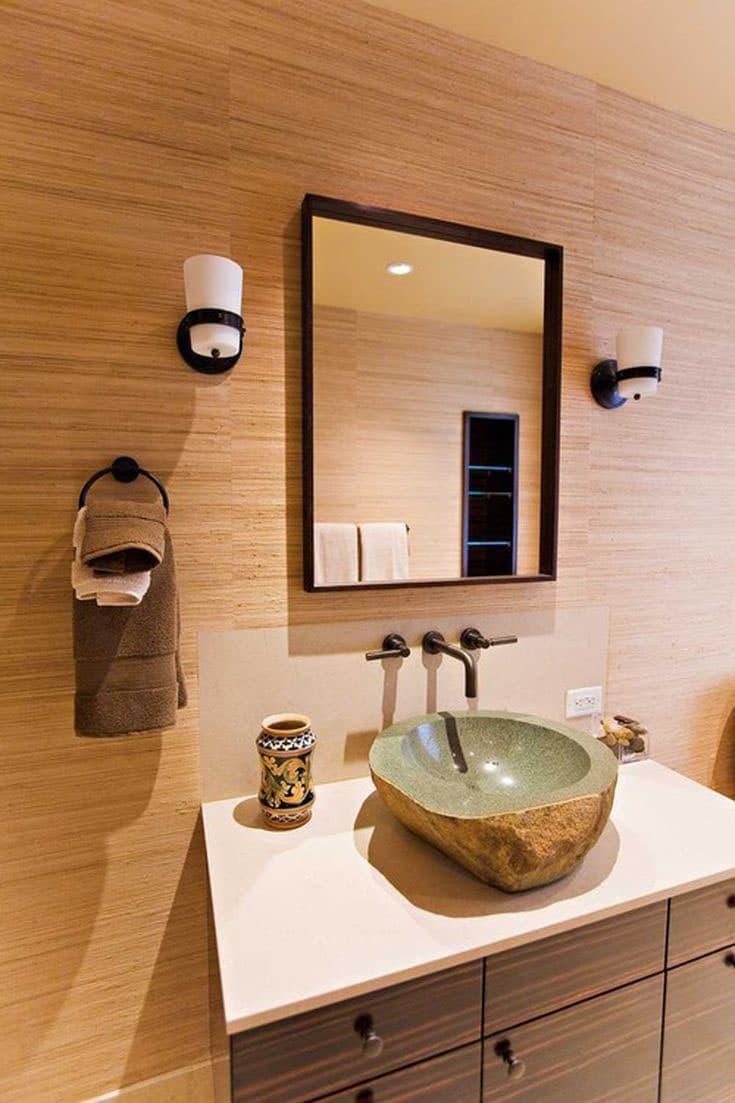 Гладкое дерево в интерьере ванной комнаты 4