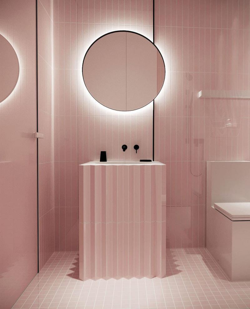 Один отделочный материал в ванной комнате 1