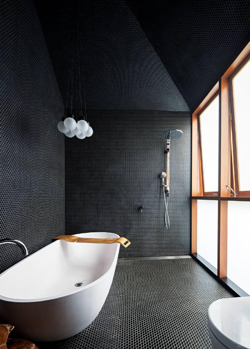 Один отделочный материал в ванной комнате 2