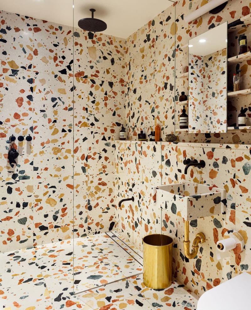 Венецианский терраццо в интерьере ванной комнаты 5