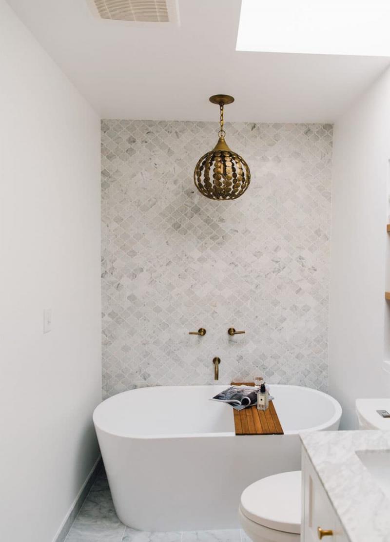 Идея оформления маленькой ванной комнаты 8