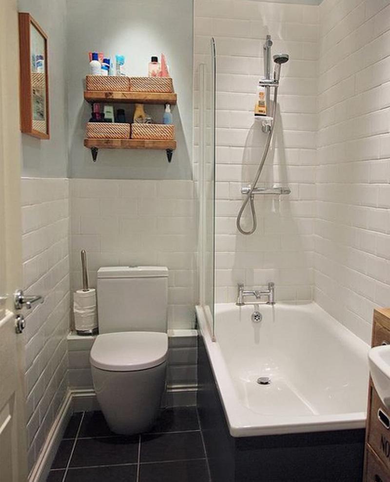 Идея оформления маленькой ванной комнаты 9