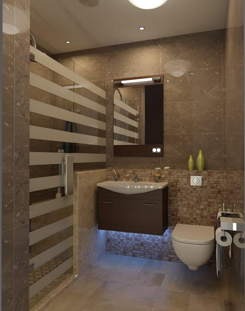 Интерьер маленькой ванной комнаты 2