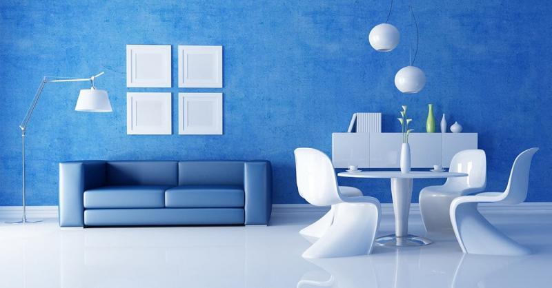 Синий цвет в интерьере 1