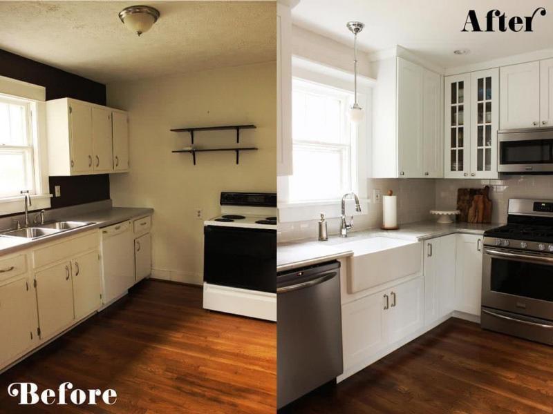 Маленькая кухня с навесными шкафами 4