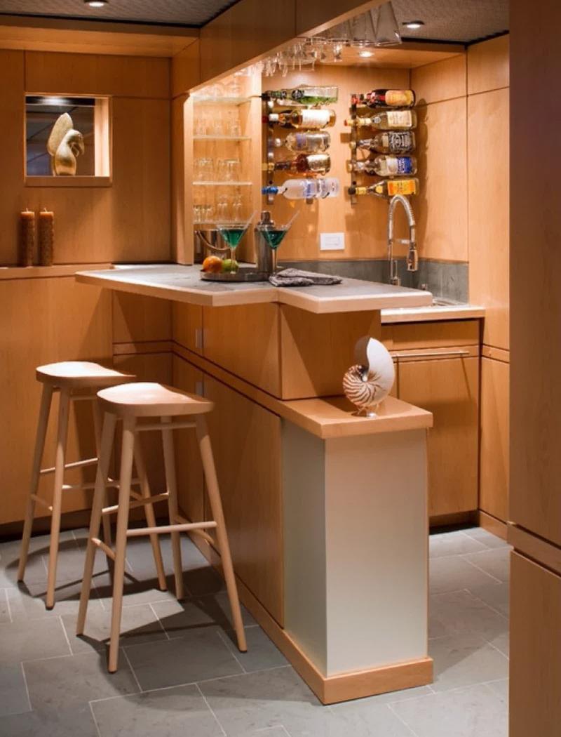 Барная стойка в угловой кухне 3