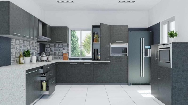 Серая угловая кухня 4