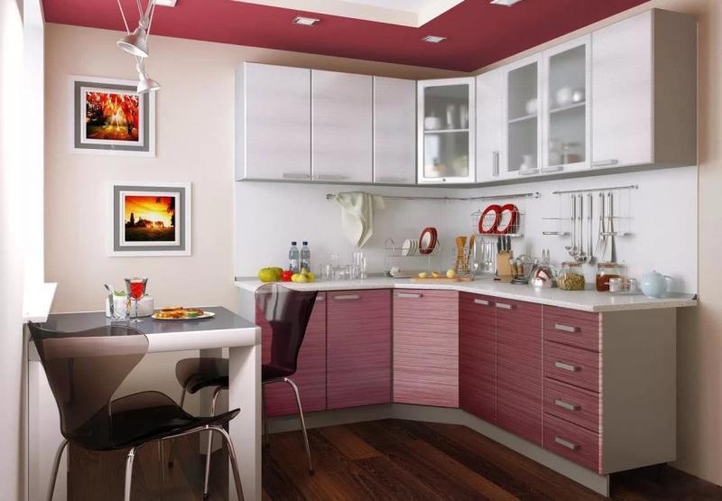 Угловая кухня с кухонным столом в углу 9