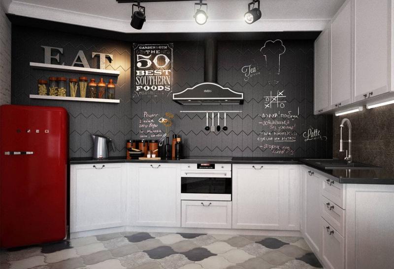 Угловая кухня в стиле лофт 1