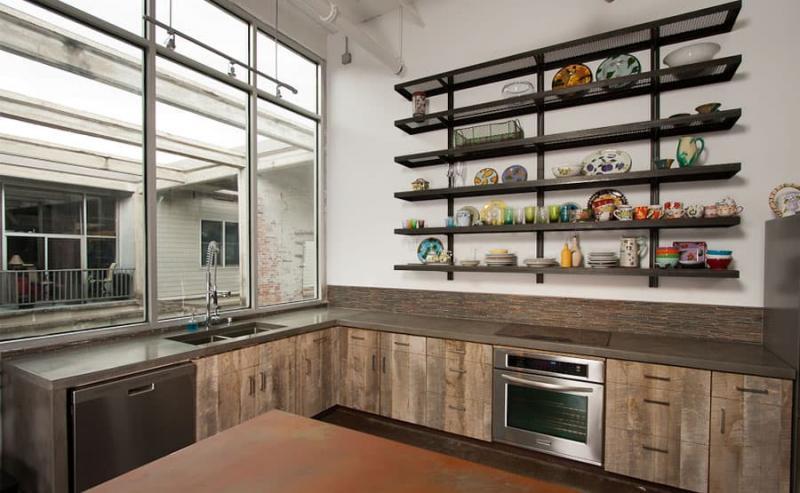 Угловая кухня в стиле лофт 7