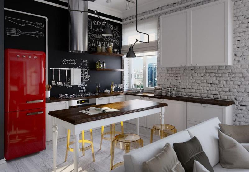 Угловая кухня в стиле лофт 8