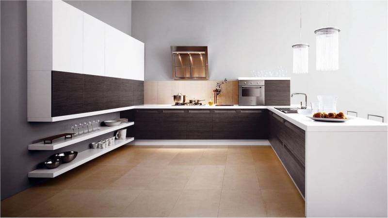 Угловая кухня в стиле минимализм 1