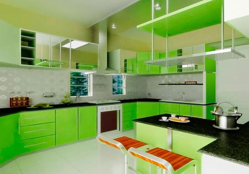 Зеленый угловой гарнитур 4