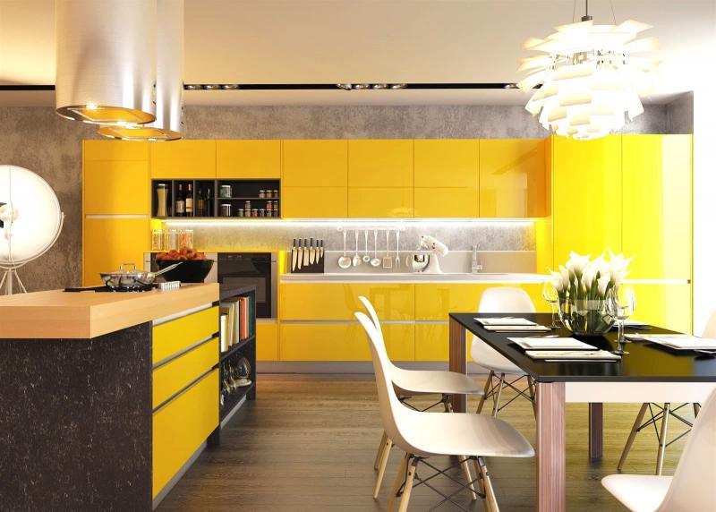 Желтый угловой гарнитур 3