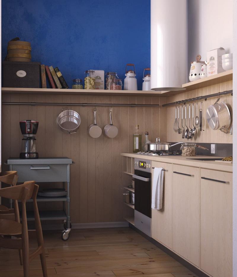 Бежевая кухня 6 кв. м 5