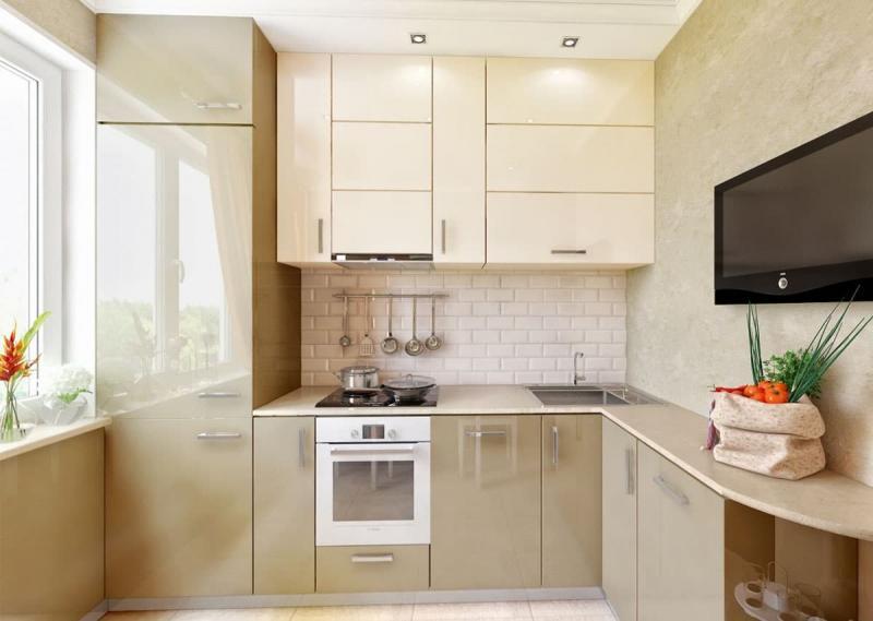 Бежевая кухня 6 кв. м 6