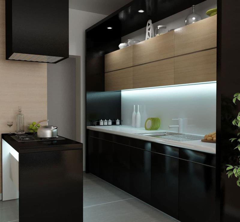 Черная кухня 6 кв. м 1
