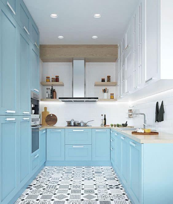 Голубая кухня 6 кв. м 4