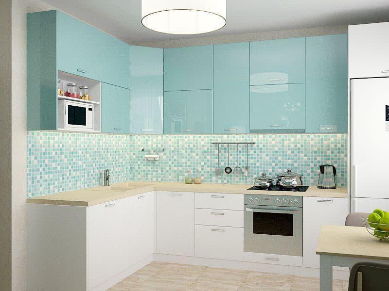 Голубая кухня 6 кв. м 5