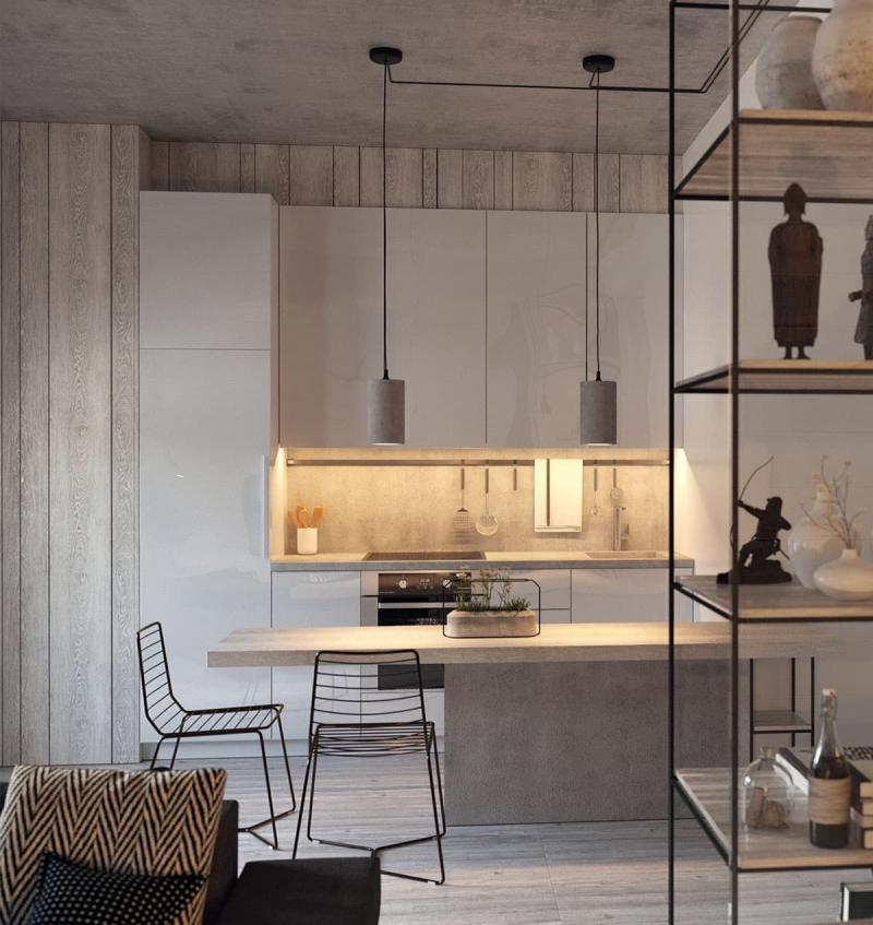 Кухня 6 кв. м в стиле лофт 1