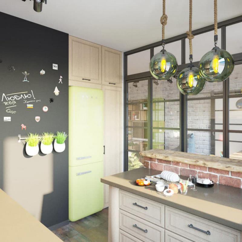 Кухня 6 кв. м в стиле лофт 4