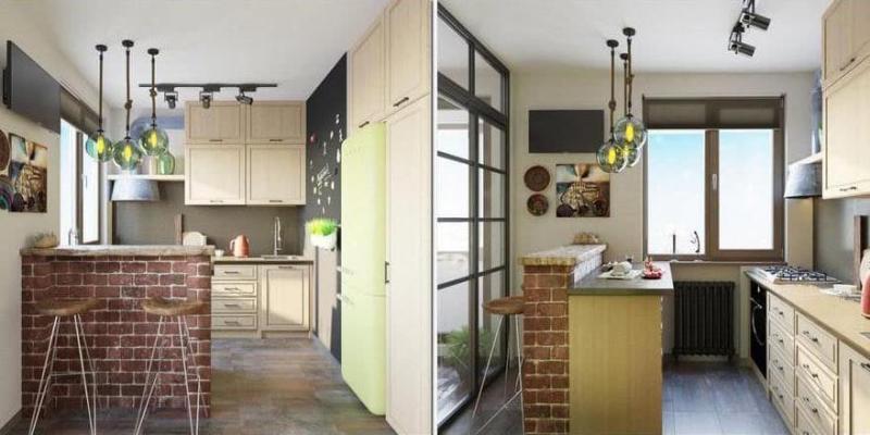 Кухня 6 кв. м в стиле лофт 5