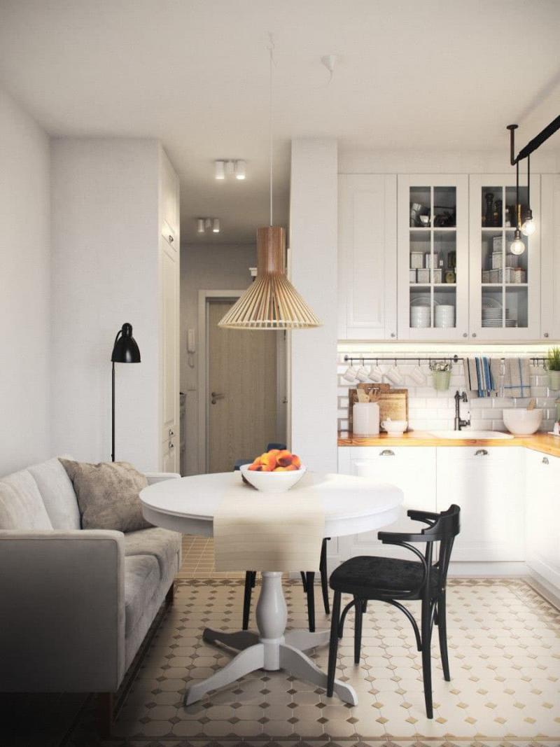 Кухня 6 кв. м в стиле скандинавском 1