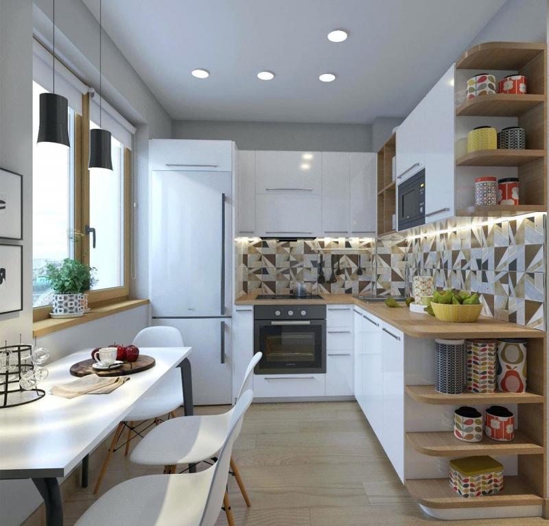 Кухня 6 кв. м в стиле скандинавском 5