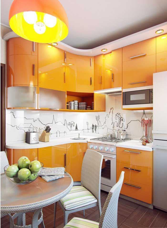 Оранжевая кухня 6 кв. м 1
