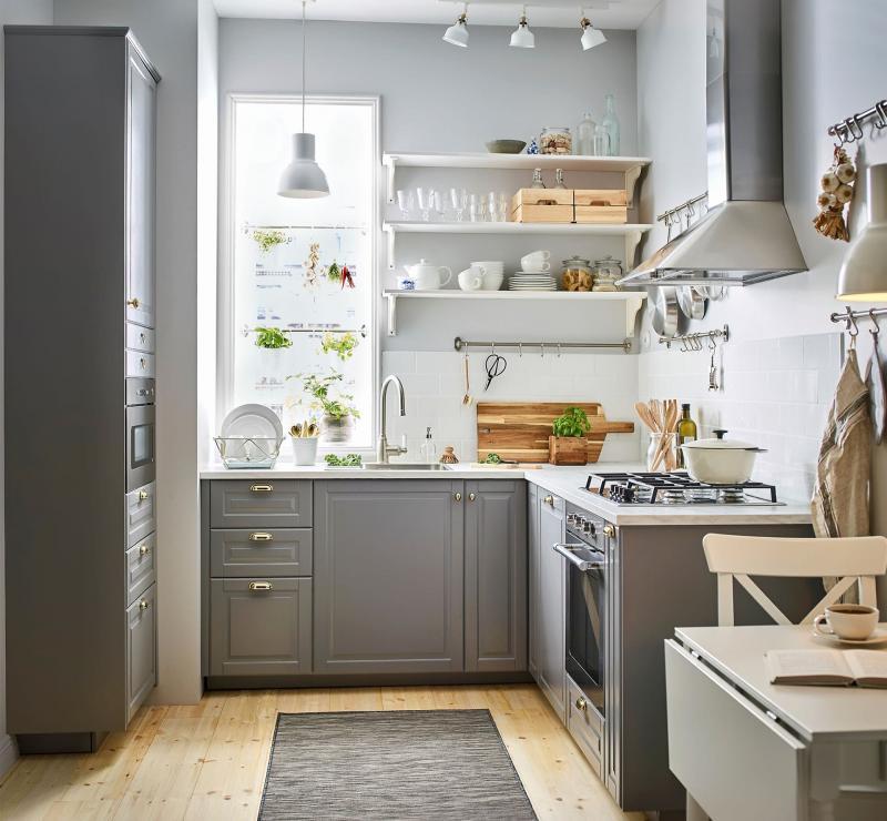 Серая кухня 6 кв. м 1