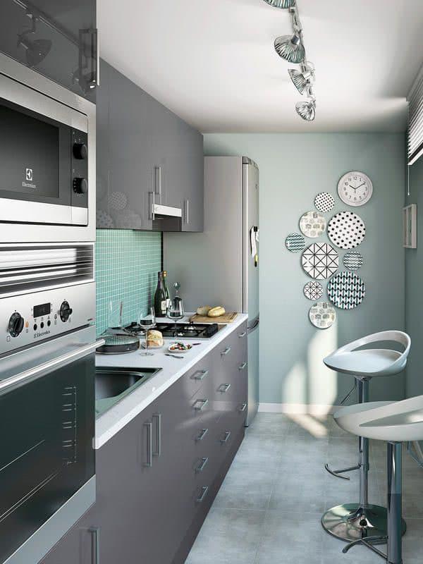 Серая кухня 6 кв. м 5