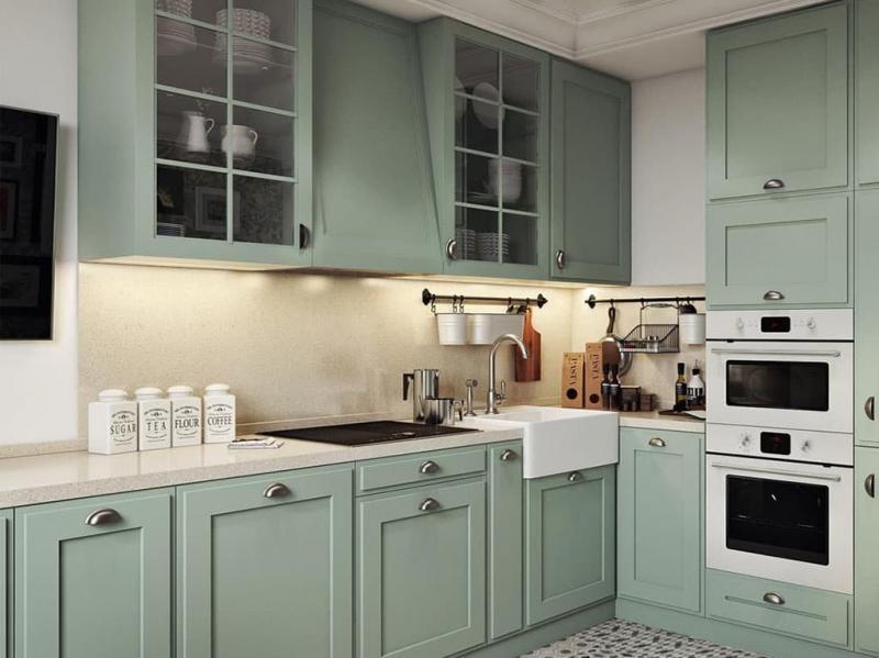 Зеленая кухня 6 кв. м 1