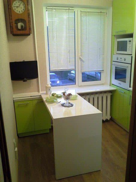 Зеленая кухня 6 кв. м 3