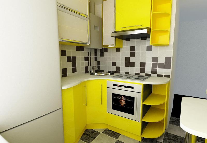 Желтая кухня 6 кв.м 1