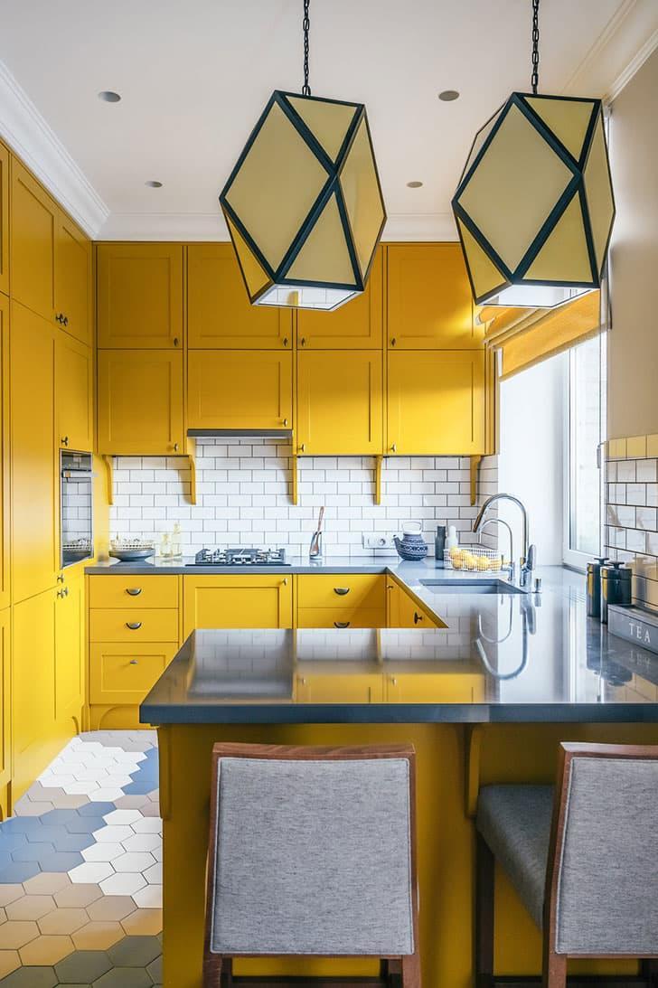 Желтая кухня 6 кв.м 5