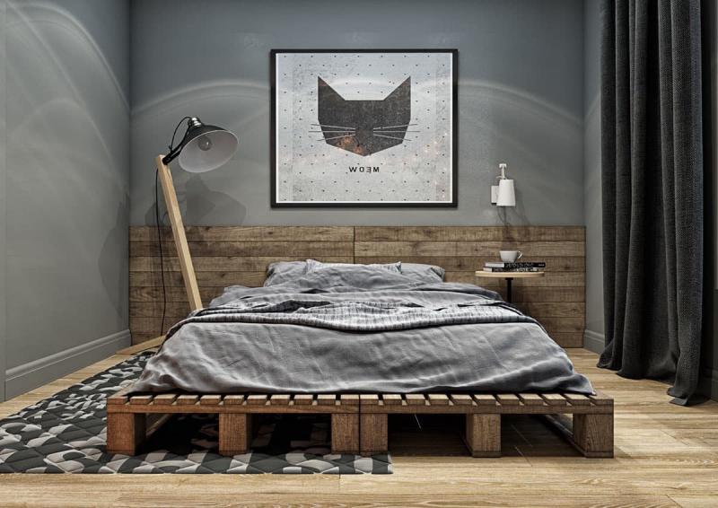 Серая спальня 18 кв. м 1