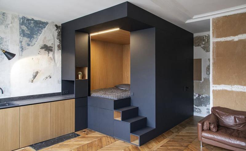 Спальня 18 кв. м с подиумом 1
