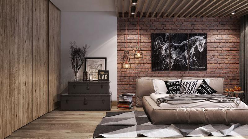 Спальня в стиле лофт 5