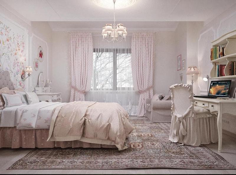 Шторы для спальни в стиле прованс 1