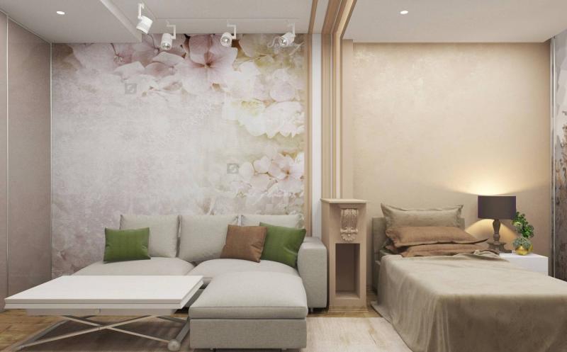 Гостиная со спальным местом с условным зонирование цветом
