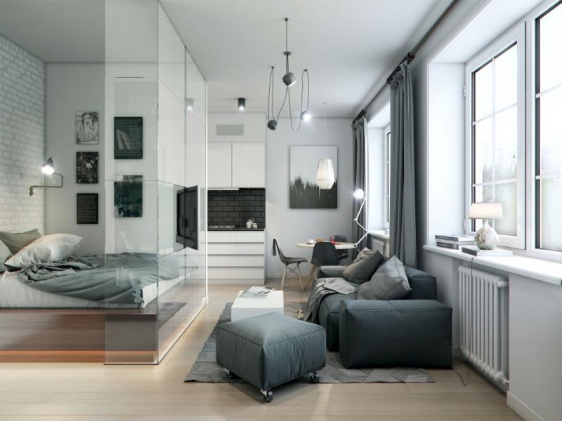 Гостиная со спальным местом со секлянной перегородкой
