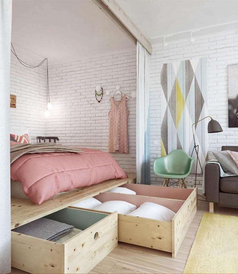 Гостиная со спальным местом со шторкой