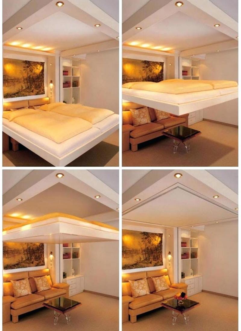 Гостиная со спальным местом вмонтированным в потолок