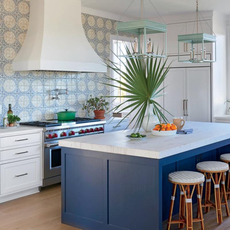 Кухни синего цвета 5