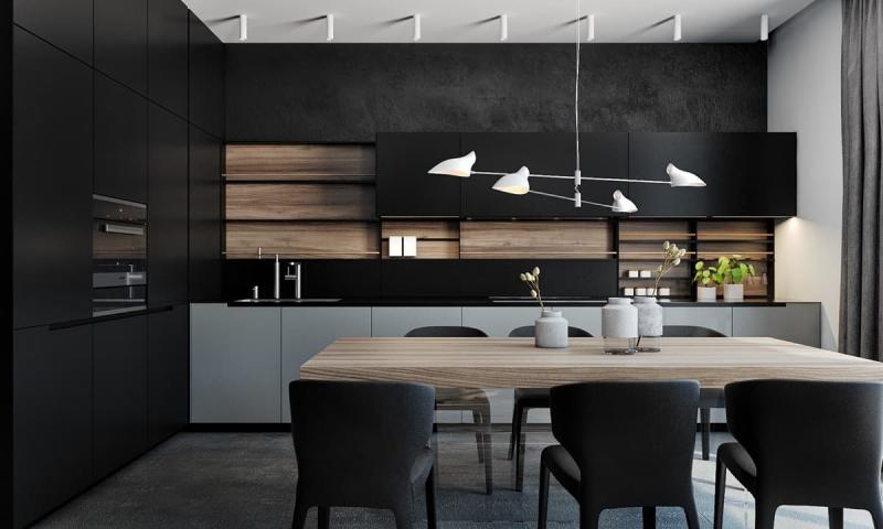 Темный кухонный гарнитур 3