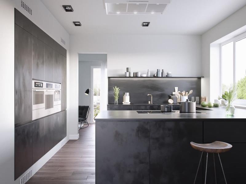 Темный кухонный гарнитур 4