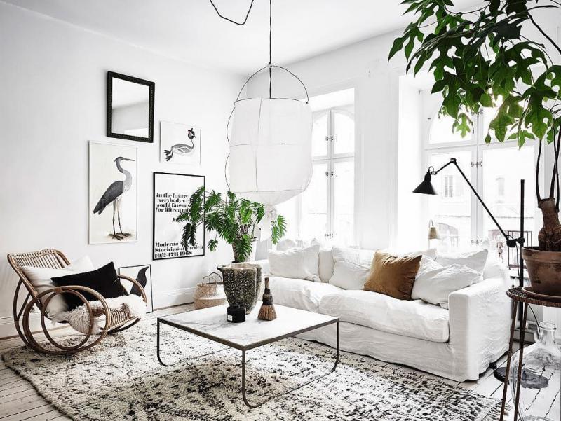 Кресла-качалки в интерьере гостиной 2