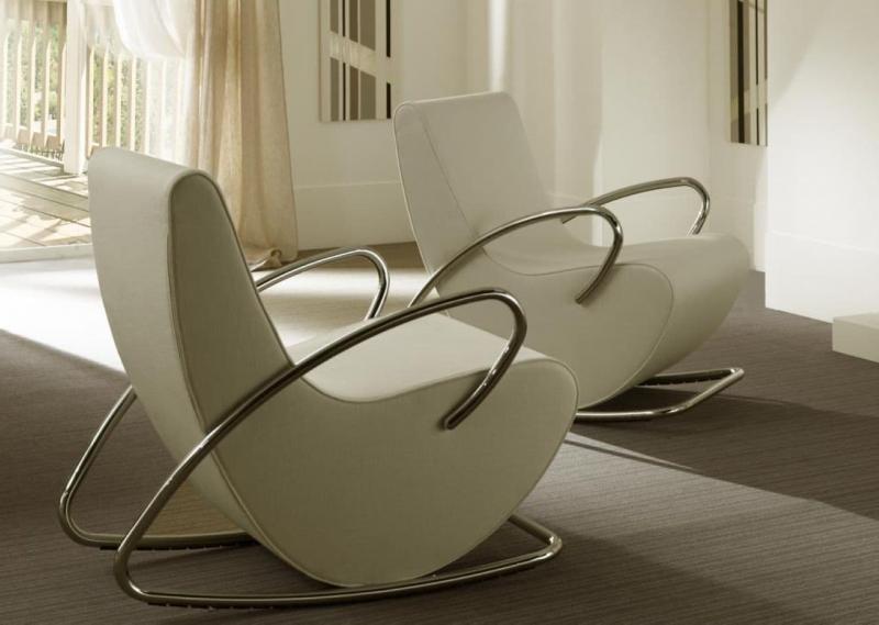 Кресла-качалки в интерьере гостиной 4