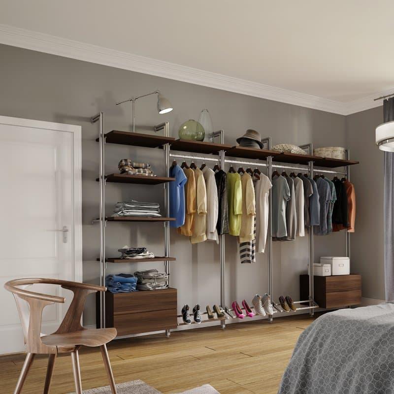 Открытый гардероб в спальне 2